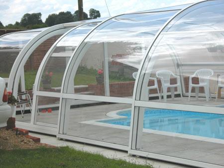 Abri de piscine télescopique ONDINE haut cintré en 1 angle